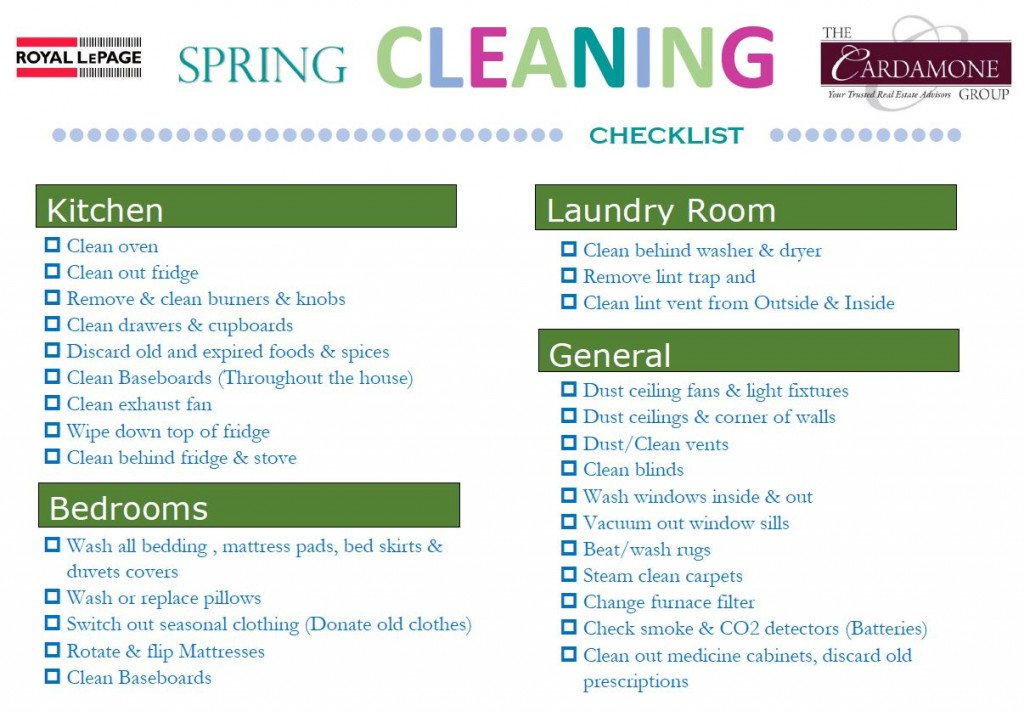 SPring Cleaning Checklist Photo Insert